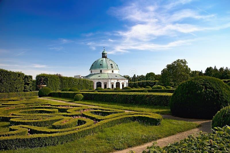 Flower garden with Rotunda in Kromeriz. Charming late Renaissance Italian garden. Beautiful garden in Czech republic, architecture, baroque, building, color royalty free stock images