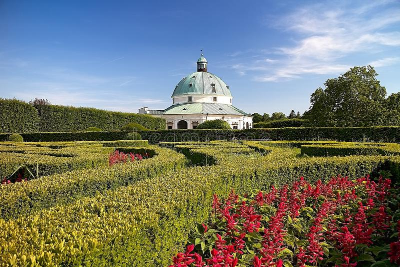 Flower garden with Rotunda in Kromeriz. Charming late Renaissance Italian garden. Beautiful garden in Czech republic, architecture, baroque, building, color stock photography