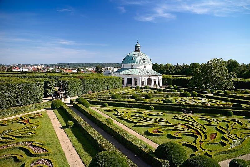 Flower garden with Rotunda in Kromeriz. Charming late Renaissance Italian garden. Beautiful garden in Czech republic, architecture, baroque, building, color stock photo