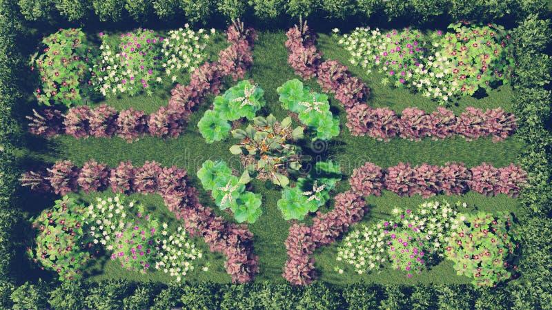 Download Flower Garden Top View Stock Illustration Of Daytime