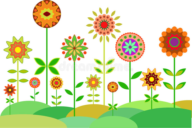 Download Flower Garden Vector, Garden Illustration Stock Illustration    Illustration Of Multicolors, Blue: