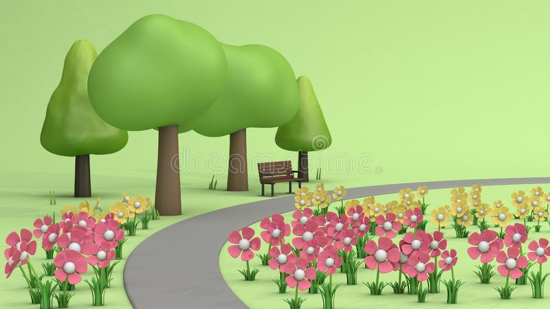 Flower garden and walkway,trees in green parks,cartoon style low poly 3d render royalty free illustration