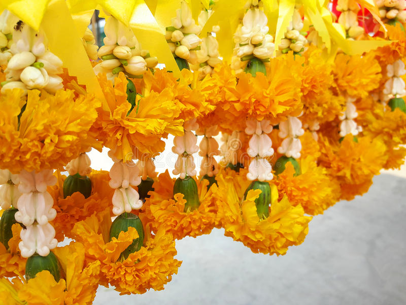 Flower garland for buddhism holy spirit respect royalty free stock photography
