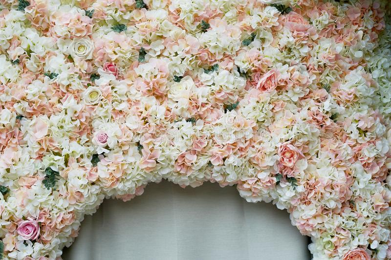 Flower garland on the wall. Dense wall of flowers. Wedding photo zone.Romantic space decor. Flower garland on the wall. Dense wall of flowers. Wedding photo zone stock image
