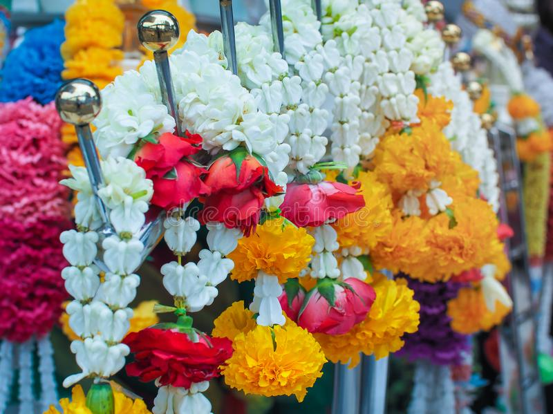 Flower garlands for Hinduism and Buddhism religious ceremony royalty free stock photography