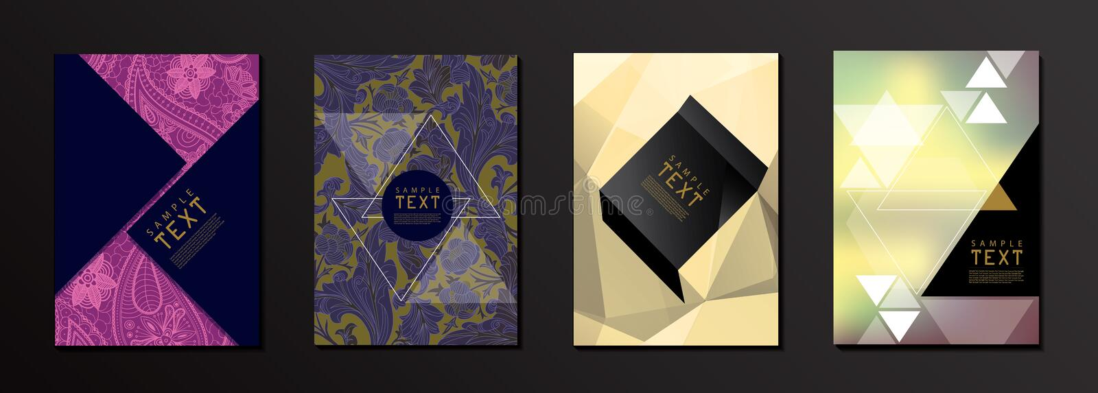 Flower and Geometrical Shape Cover Design Template stock illustration