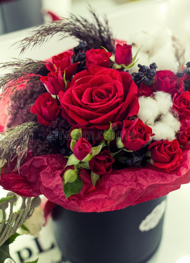 Flower gift, krasivae the red roses in a box royalty free stock photo