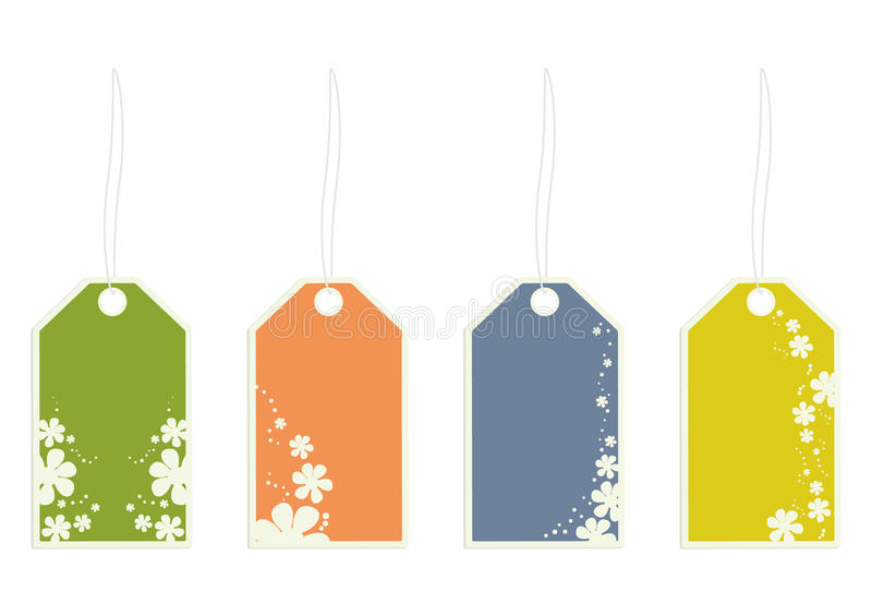 Flower gift tags royalty free illustration