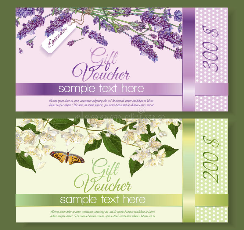 Flower gift vouchers vector illustration