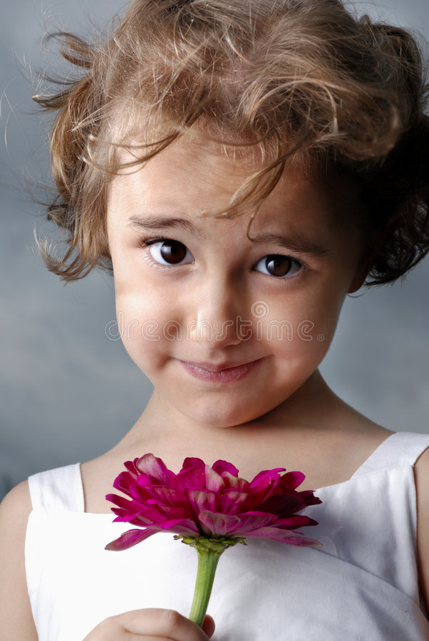 Download Flower Girl stock image. Image of autumn, cute, eyes, small - 3096433