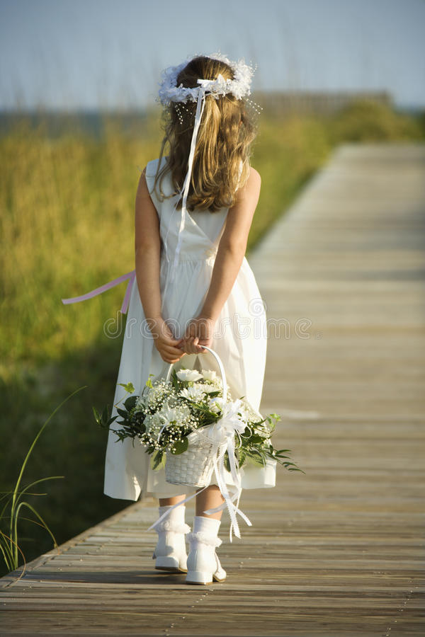 Flower Girl on Boardwalk royalty free stock images
