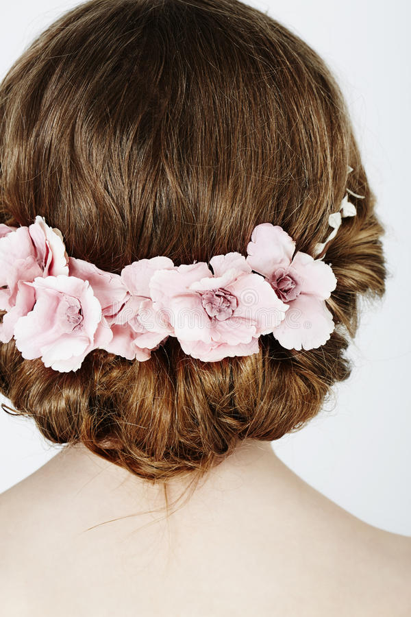 Flower girl close up. Rear view royalty free stock photos