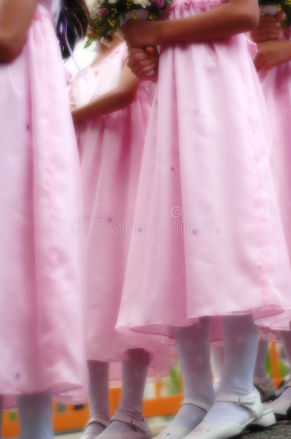 Flower girls in soft focus. Flower girls in pink dress in dreamy royalty free stock photo
