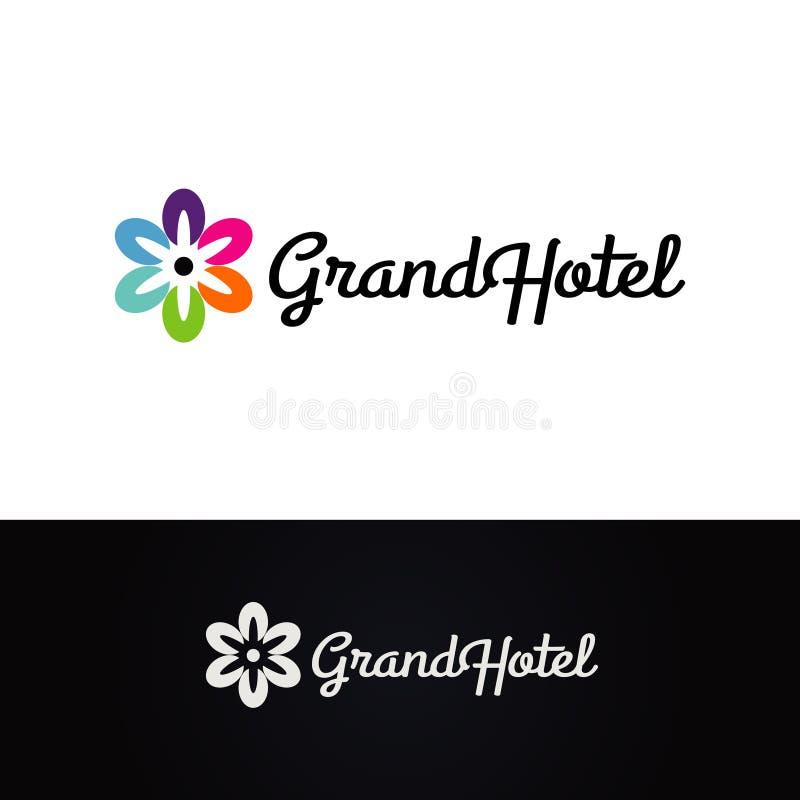 Flower Grand Hotel Logo Design Symbol stock illustration