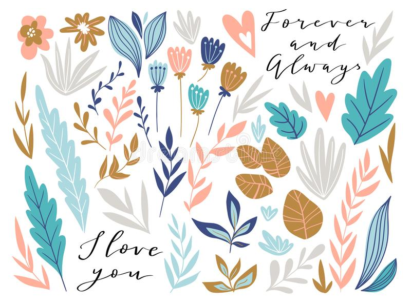 Flower graphic design. Vector set of floral elements with hand drawn flowers and love lettering. Cute wedding collection. royalty free illustration