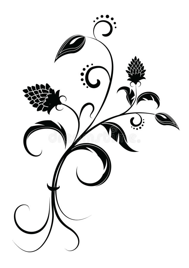 Flower .Graphic image on white stock photography
