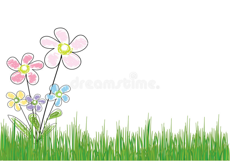 Flower in grass stock illustration