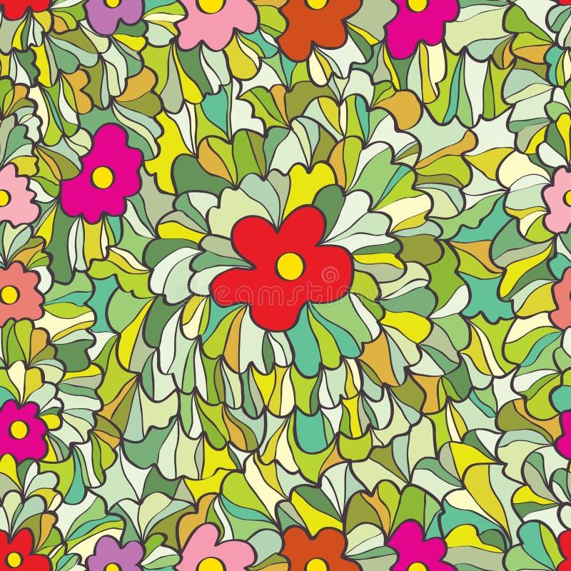 Flower grasses garden seamless pattern vector illustration