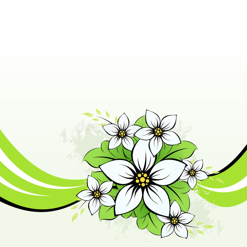 Flower with green wave vector illustration
