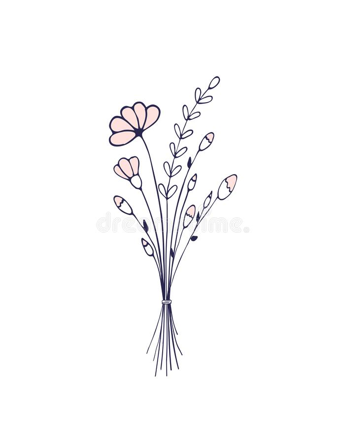 Flower Hand Drawn Bouquet Of Wildflowers Light And Delicate Illustration Stock Illustration Illustration Of Decorative Decoration 138096779