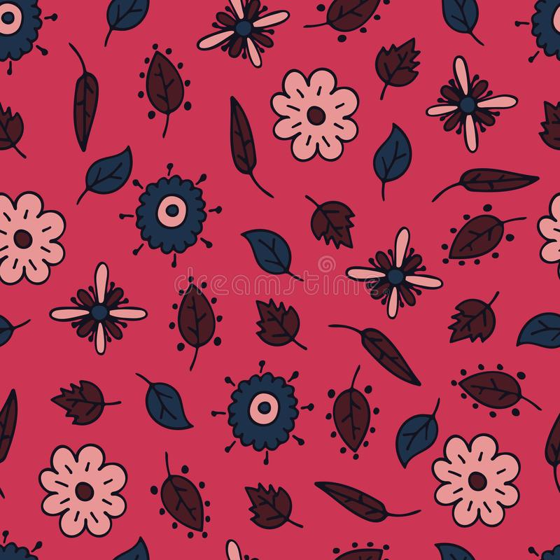 Flower hand-drawn seamless pattern with fantasy elements.  vector illustration