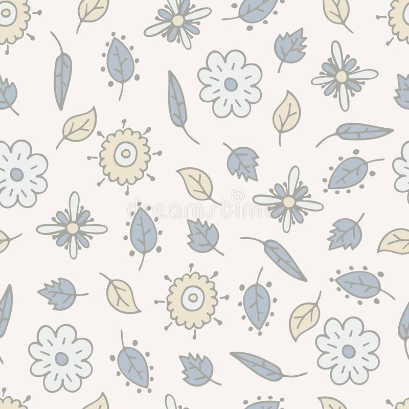 Flower hand-drawn seamless pattern with lovely fantasy elements.  vector illustration