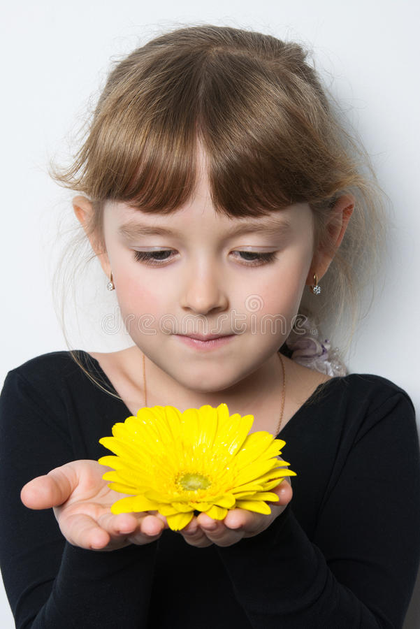 Flower in the hands of a young girl. Bright fresh flower in the hands of a girl royalty free stock image