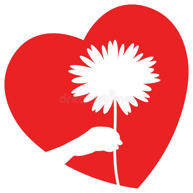 Flower with heart stock illustration