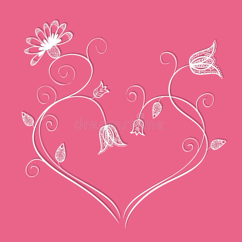 Download Flower heart with swirls stock vector. Image of design - 31239766