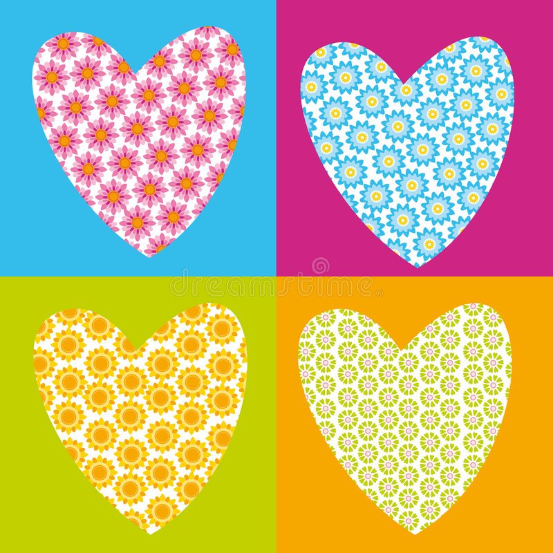 flower hearts stock illustration