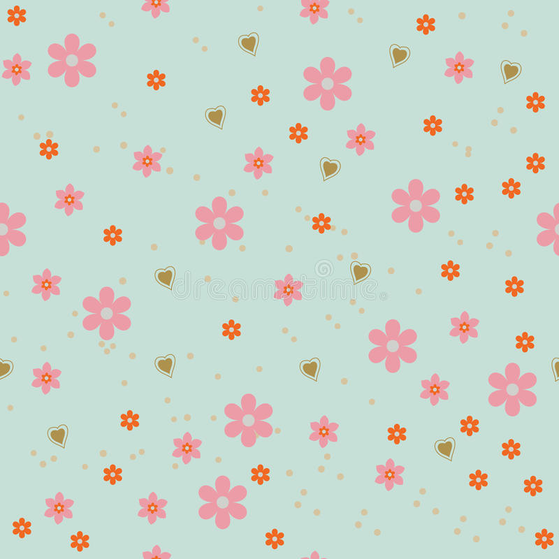 Flower and hearts abstract background stock illustration