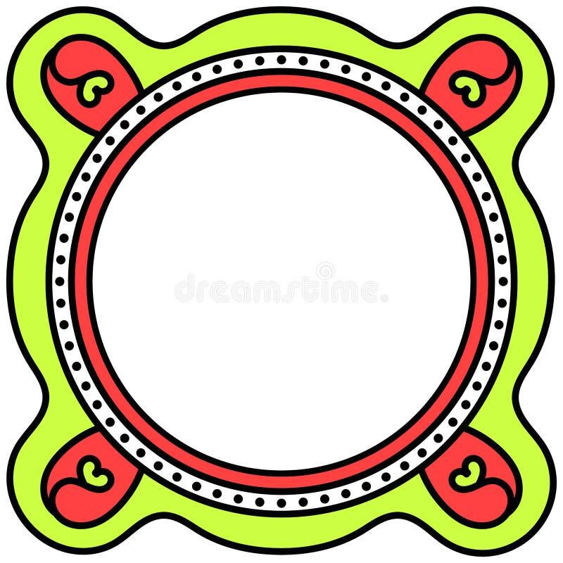 Flower hearts border round frame royalty free illustration