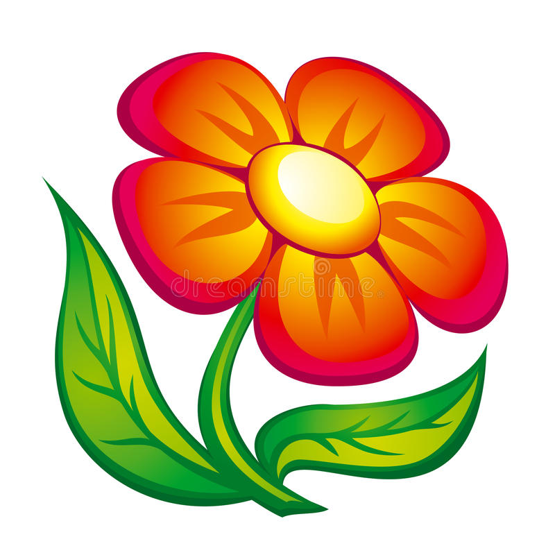 Flower icon. Icon of red flower with leaves. EPS8
