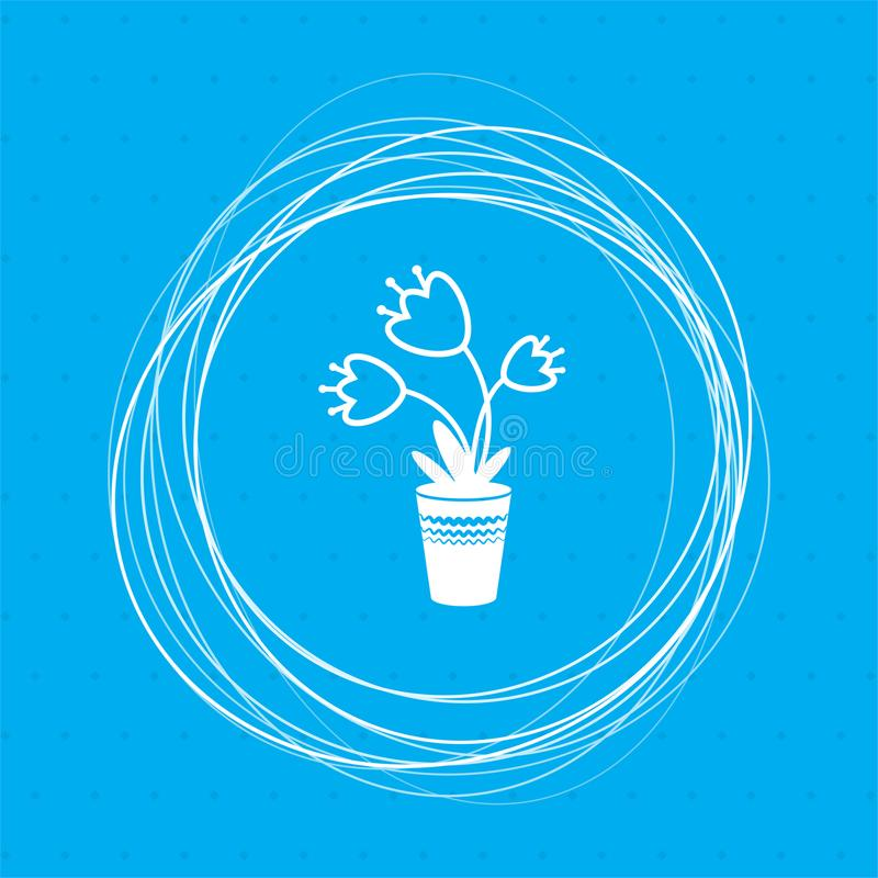 Flower icon on a blue background with abstract circles around and place for your text. stock illustration