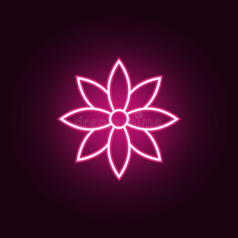 flower icon. Elements of Web in neon style icons. Simple icon for websites, web design, mobile app, info graphics royalty free illustration