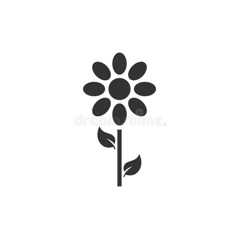 Flower icon flat. Flower. Black Icon Flat on white background vector illustration