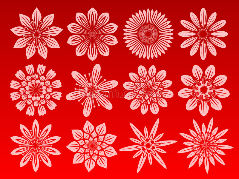 Flower icon set. Icon set of 12 different flowers royalty free illustration