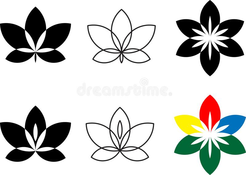 Flower icon set. Flat logo with floral elements collection for d vector illustration