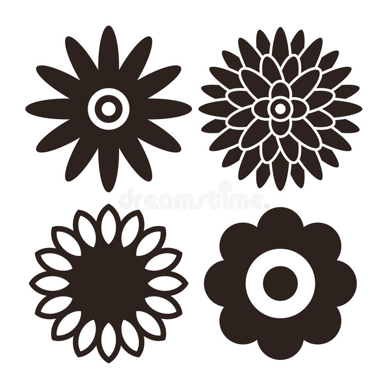 Flower icon set - gerbera, chrysanthemum, sunflower and daisy stock illustration