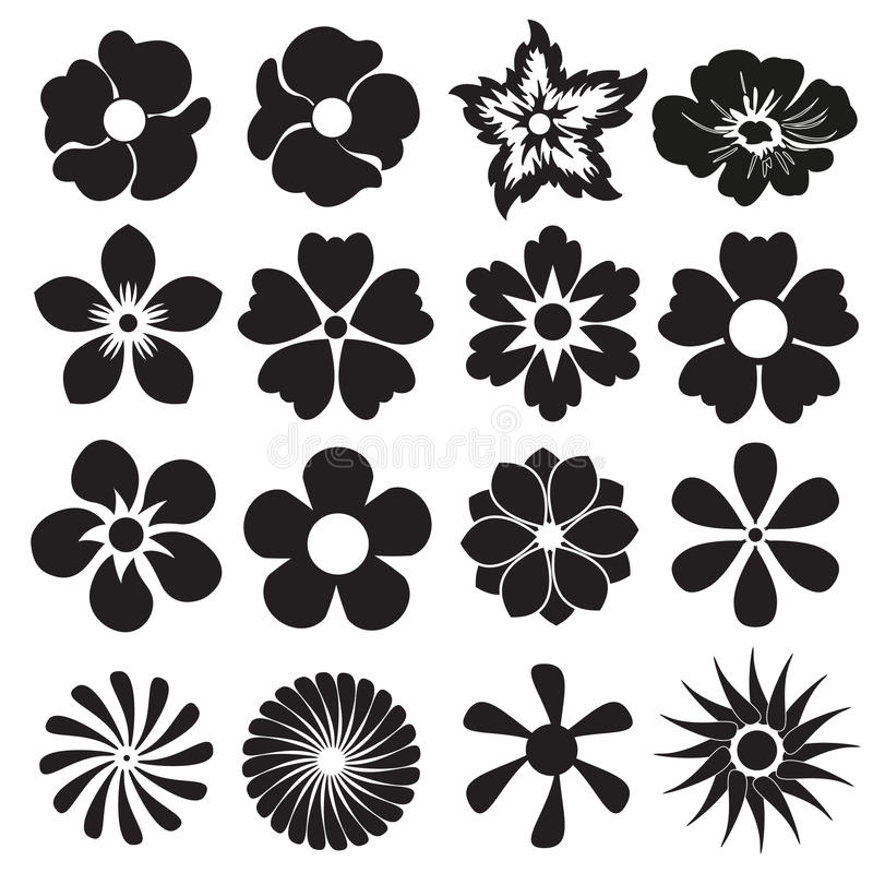 Set Of Black Flower Design Elements Vector Illustration: Flower Icon Or Sign Set. Vector Design Elements. Stock