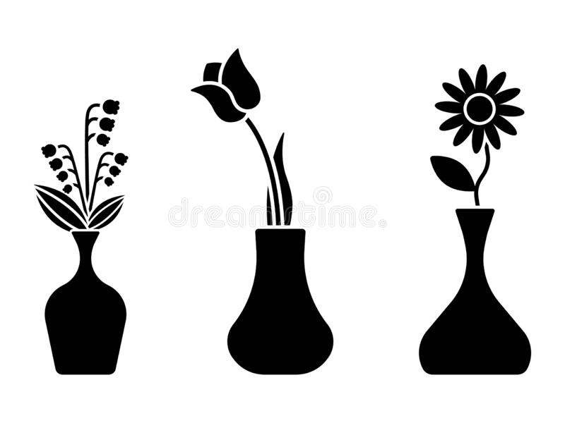 Flower icon, sign, symbol, black and white vector set. Group of blossom in vase flat simple style. Flower icon, sign, symbol, black and white vector set. Group royalty free illustration