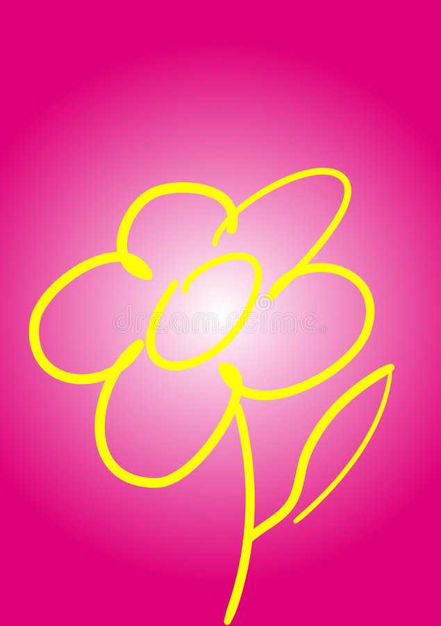 Flower illustration. This illustration represents an yellow flower with on a magenta background vector illustration