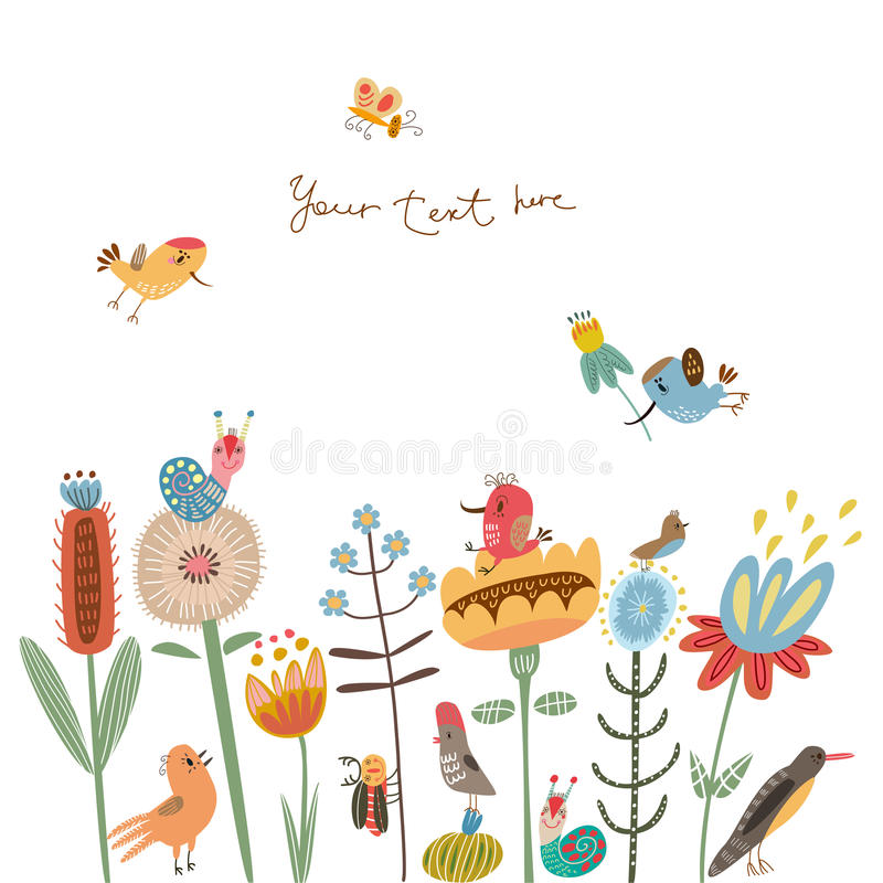 Flower illustration cute flowers and birds vector illustration