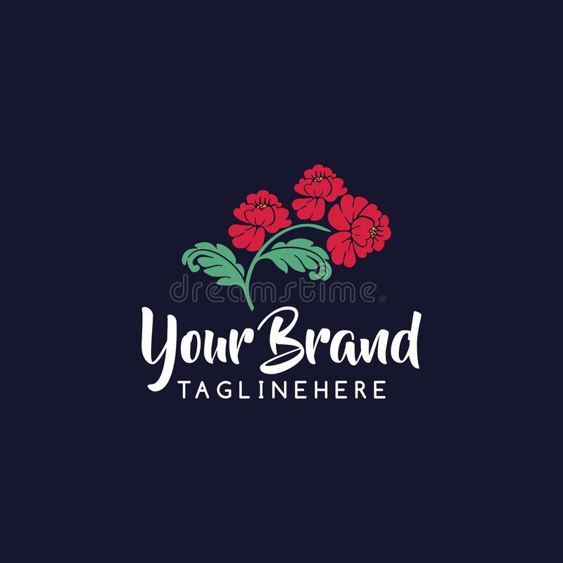 Flower illustration logo for flower store, beauty salon, spa or yoga studio.Icon of three flowers royalty free illustration