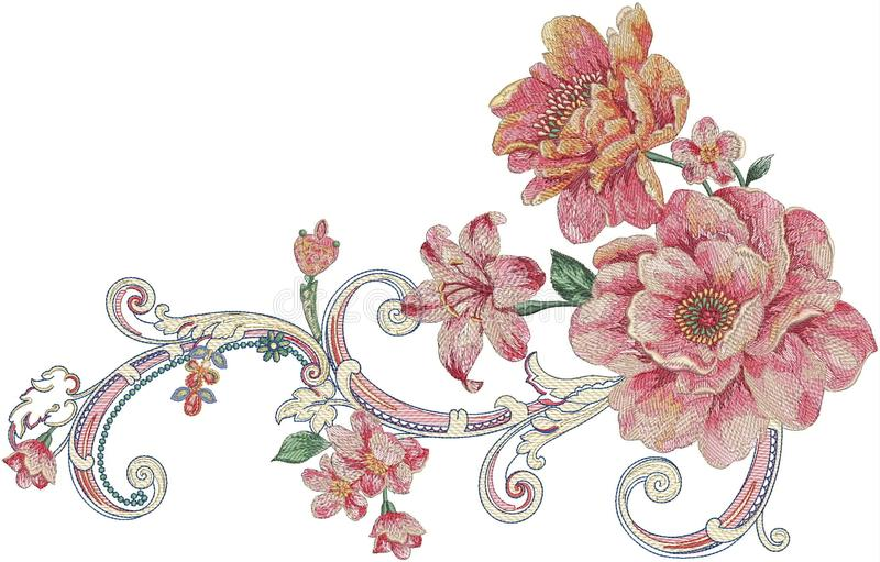 Flower Illustration pattern in simple background. Illustration flower in simple background. Banner, nature.Vintage Baroque Victorian frame border monogram floral vector illustration
