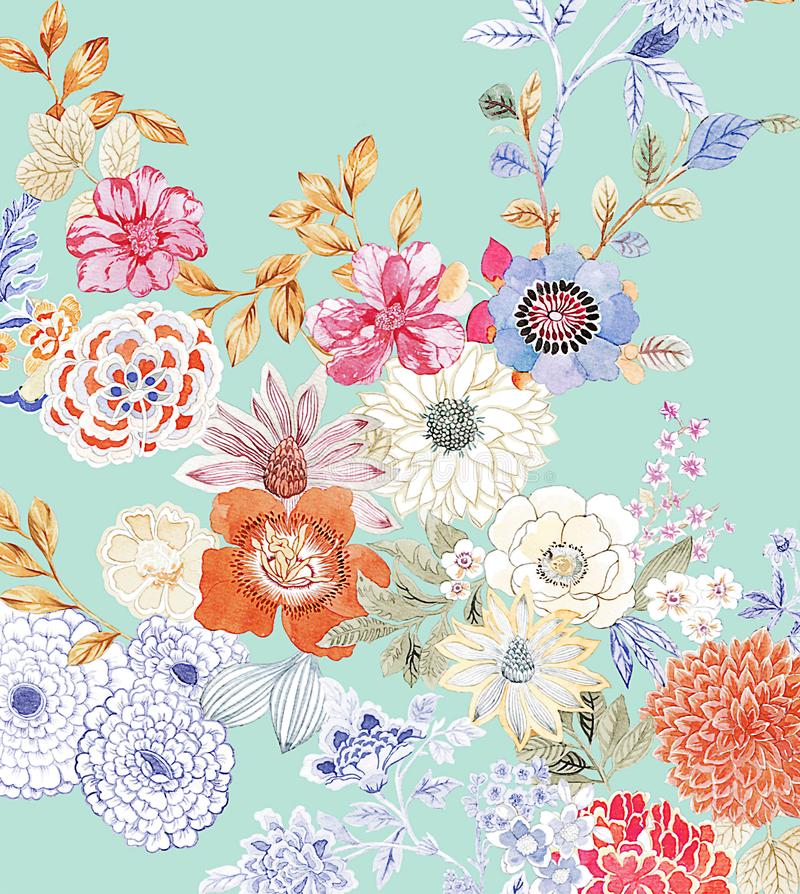 Flower Illustration pattern in simple background stock illustration