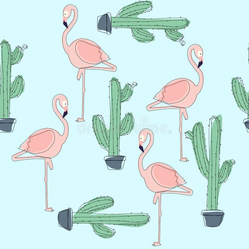 Tropical Flamingo Bird and Cactus Background. vector illustration