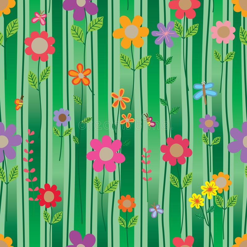 Flower insect style vertical line gradient green seamless pattern stock illustration