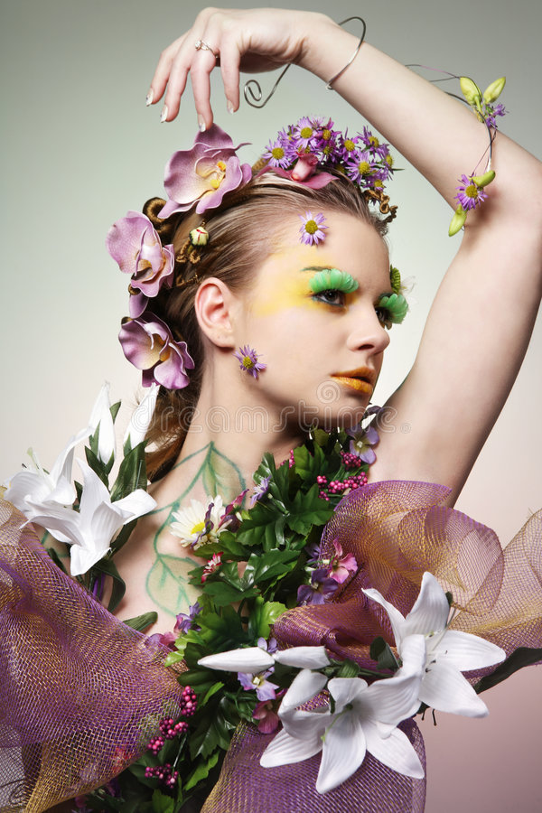 Flower lady. royalty free stock photo