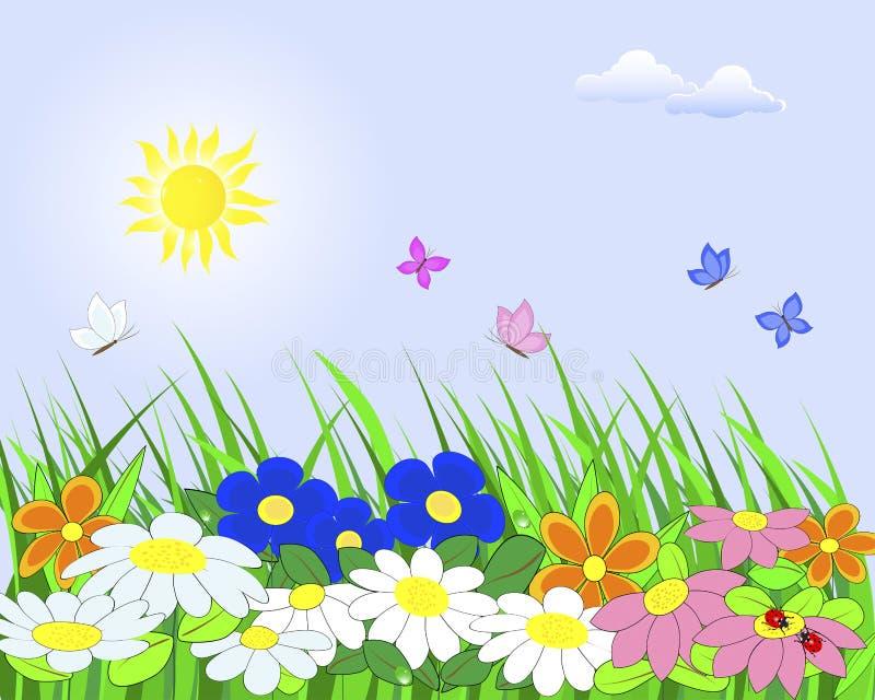 Download Flower landscape. stock vector. Image of border, foliage - 23587373